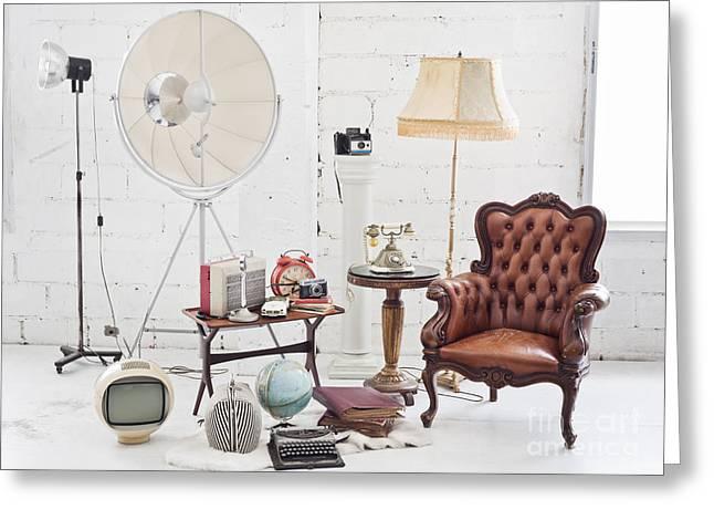 Empty Chairs Greeting Cards - Retro Furniture Greeting Card by Setsiri Silapasuwanchai