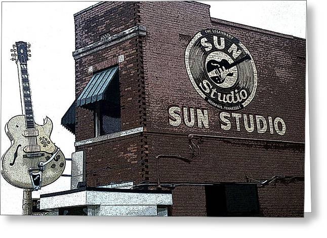 Sun Studio Greeting Cards - Retro Memphis Street Greeting Card by Rebecca Brittain