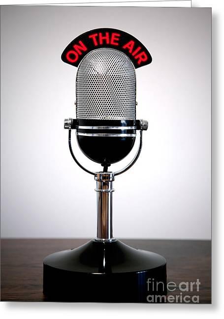 Transmit Greeting Cards - Retro microphone  Greeting Card by Richard Thomas