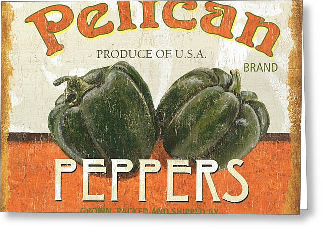 Stems Greeting Cards - Retro Veggie Labels 3 Greeting Card by Debbie DeWitt