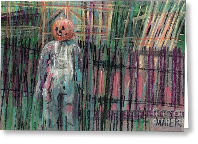 Scarecrow Greeting Cards - Return of Pumpkinhead Man Greeting Card by Donald Maier