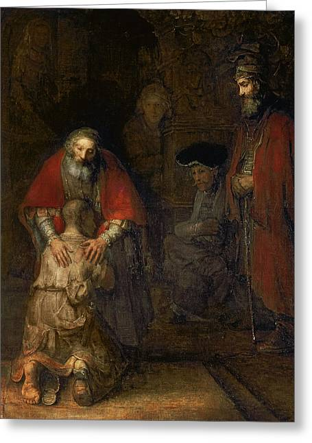 Kneel Greeting Cards - Return of the Prodigal Son Greeting Card by Rembrandt Harmenszoon van Rijn