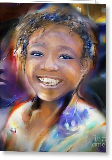 Haitian Digital Art Greeting Cards - Returning A Smile Greeting Card by Bob Salo