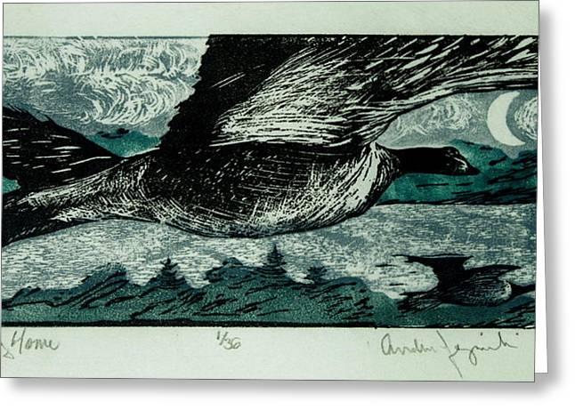 Linoleum Cut Greeting Cards - Returning Home Greeting Card by Andrew Jagniecki