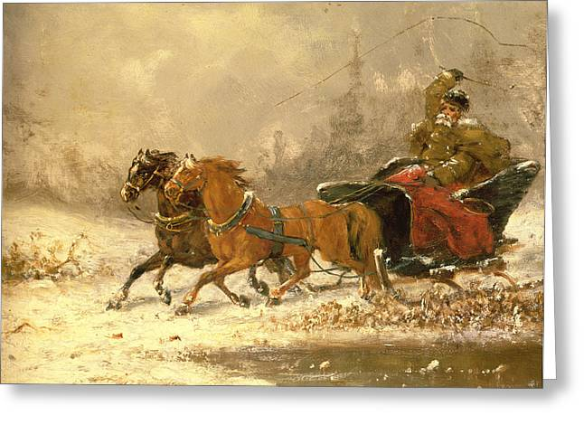 Horse Whip Greeting Cards - Returning Home in Winter Greeting Card by Charles Ferdinand De La Roche