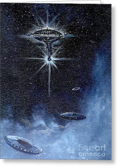 Cosmic Paintings Greeting Cards - Returning Space Patrol Greeting Card by Murphy Elliott