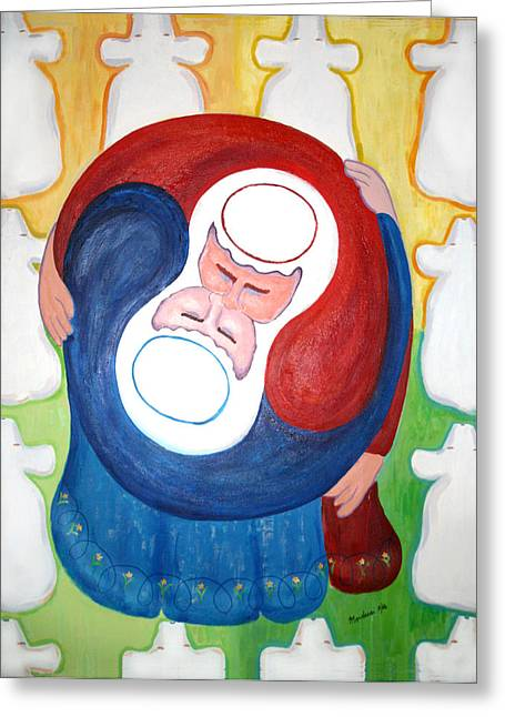 Mordecai Colodner Paintings Greeting Cards - Reunion Jacob and Essau  Greeting Card by Mordecai Colodner