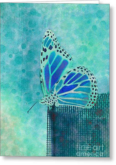 Blue Butterfly Greeting Cards - Reve de Papillon - s02a2 Greeting Card by Variance Collections