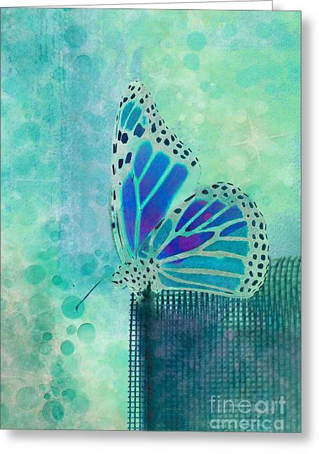 Blue Butterfly Greeting Cards - Reve de Papillon - s02b Greeting Card by Variance Collections