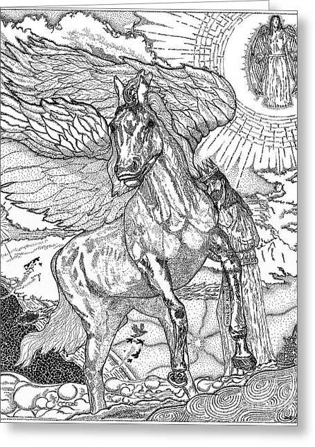 Imagination Drawings Greeting Cards - Revelation   Return Of The King Greeting Card by Glenn McCarthy Art and Photography