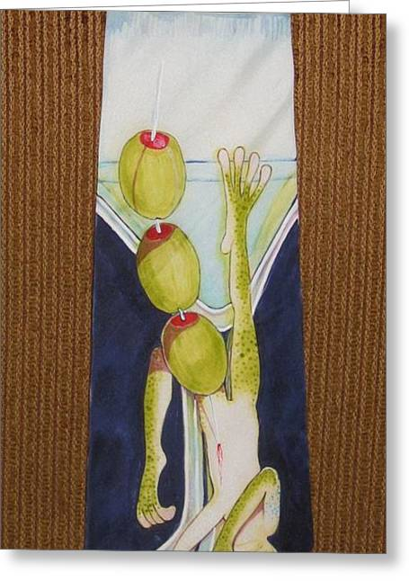 Amphibians Tapestries - Textiles Greeting Cards - Revenge of the Corporate Lunch Greeting Card by David Kelly