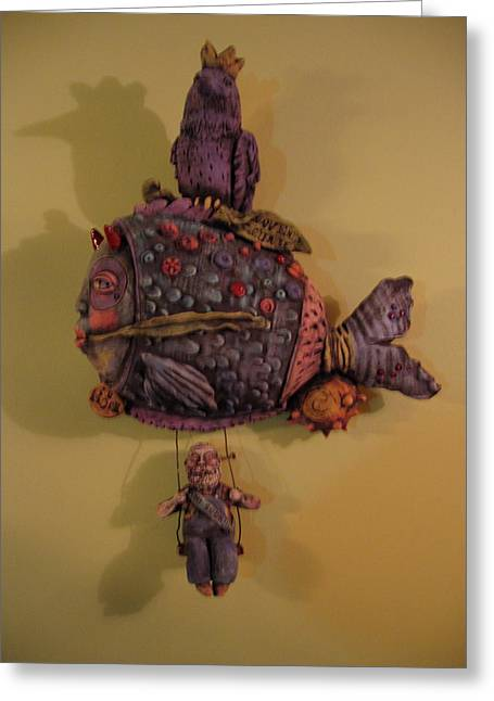 Pottery Ceramics Greeting Cards - Revenge Sculpture Greeting Card by Kathleen Raven