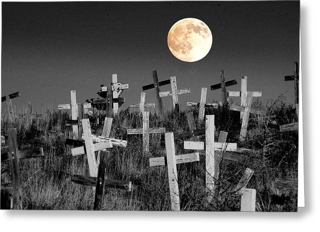 Cemetary Greeting Cards - Reverent Moonlight.... Greeting Card by Al  Swasey
