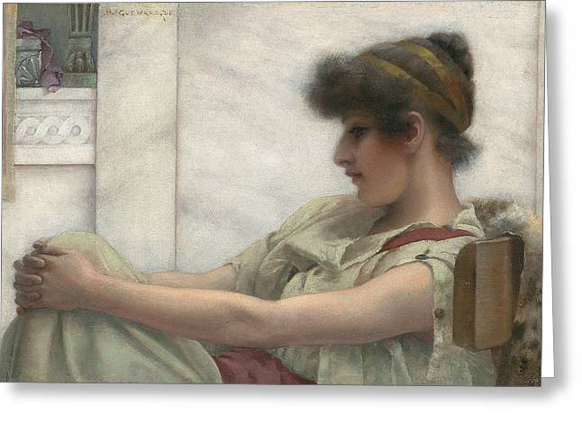 Considering Greeting Cards - Reverie Greeting Card by John William Godward