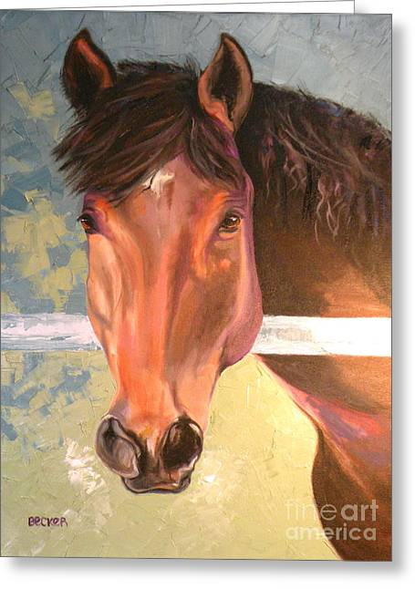 Quarter Horse Greeting Cards - Reverie Greeting Card by Susan A Becker
