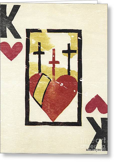 Print Card Reliefs Greeting Cards - Reverse Religion Greeting Card by Amanda McIntyre
