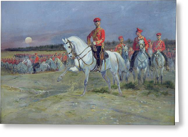 Nicholas Greeting Cards - Reviewing the Troops Greeting Card by Jean Baptiste Edouard Detaille