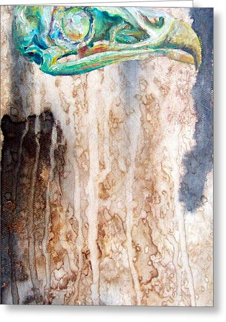 Drippy Paintings Greeting Cards - Revolution Bird Skull Greeting Card by Christy  Freeman