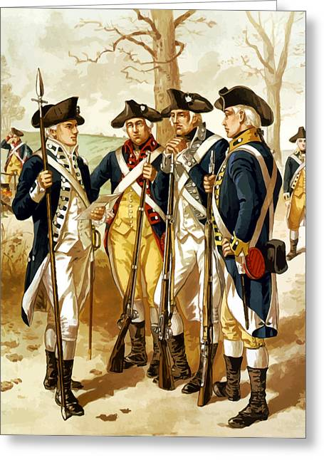 Veterans Memorial Paintings Greeting Cards - Revolutionary War Infantry Greeting Card by War Is Hell Store
