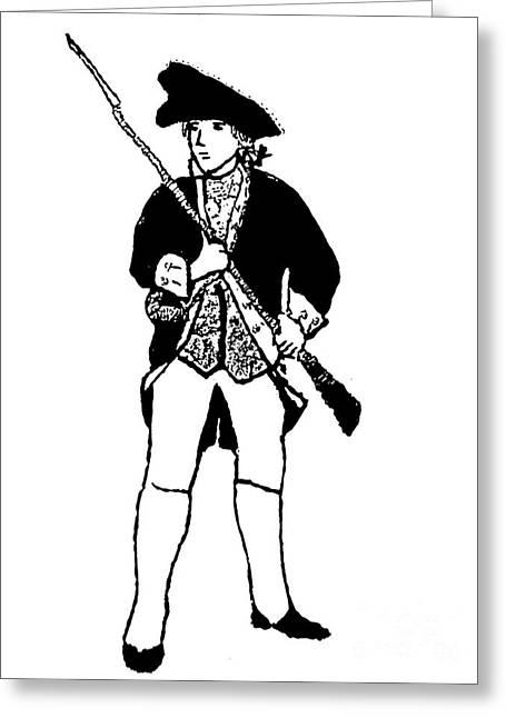 Colonial Man Digital Greeting Cards - Revolutionary War Militia Man Greeting Card by Susan Carella