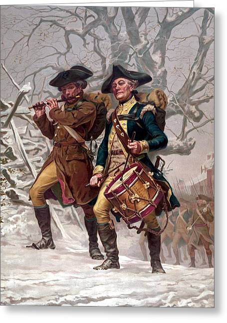 American Revolution Greeting Cards - Revolutionary War Soldiers Marching Greeting Card by War Is Hell Store