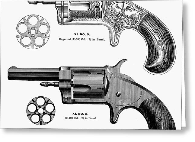 1880s Greeting Cards - REVOLVERS, 19th CENTURY Greeting Card by Granger