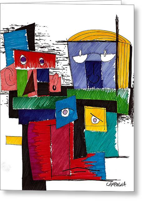 Indigo Drawings Greeting Cards - Revue Board Greeting Card by Teddy Campagna