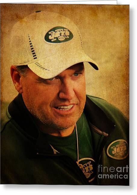 Jet Star Greeting Cards - Rex Ryan - New York Jets Greeting Card by Lee Dos Santos
