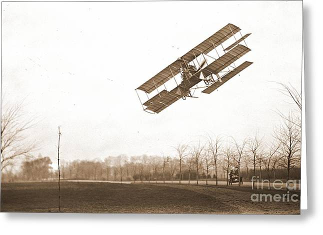 Ewing Greeting Cards - Rex Smith Biplane 1912 Sepia Greeting Card by Padre Art