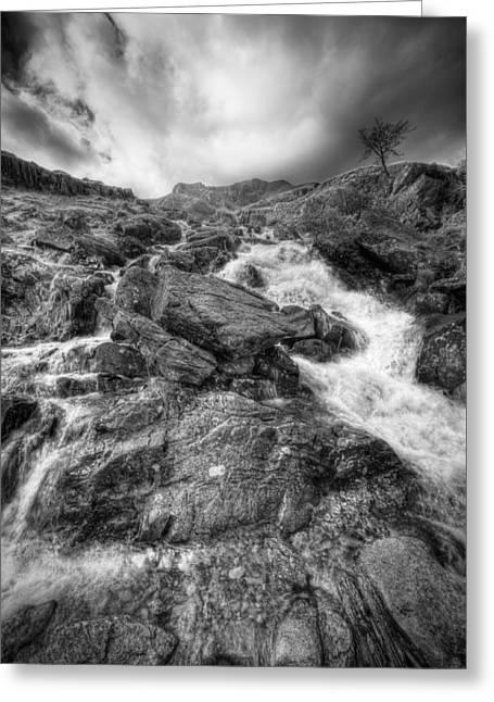 Dark Skies Greeting Cards - Rhaeadr Idwal Waterfall Greeting Card by Andy Astbury