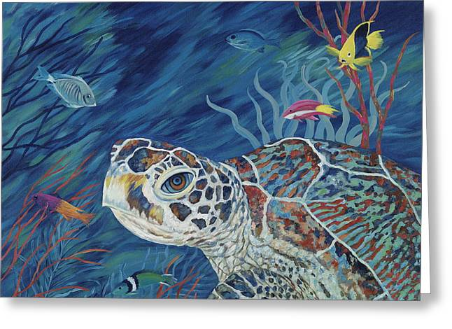 Reef Fish Paintings Greeting Cards - Rhapsody in Blue Greeting Card by Danielle  Perry
