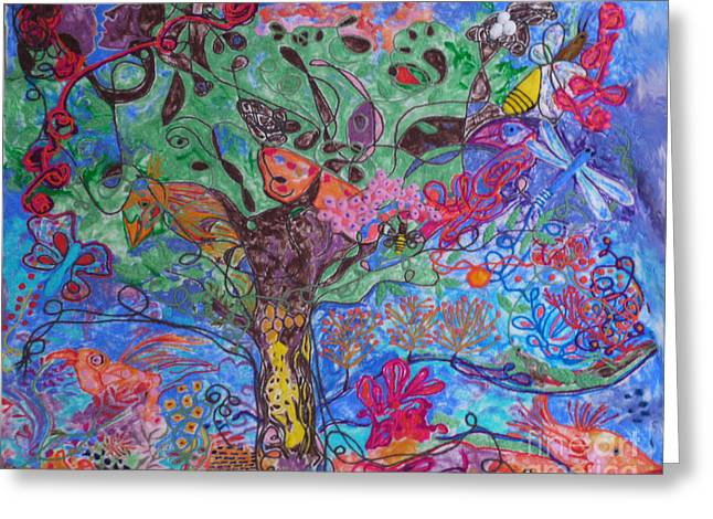 Whimsical Tapestries - Textiles Greeting Cards - Rhapsody of Joy Greeting Card by Heather Hennick