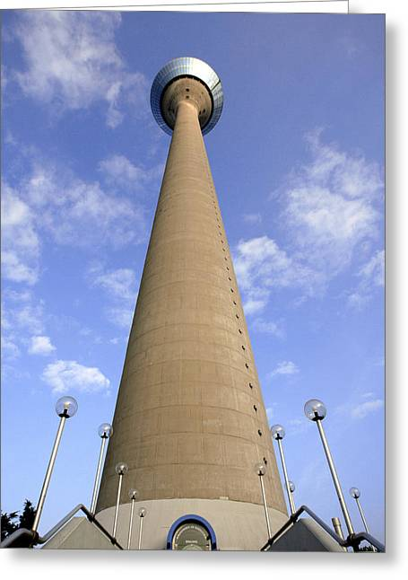 Technological Communication Greeting Cards - Rhine Tower, Dusseldorf, Germany Greeting Card by Carlos Dominguez
