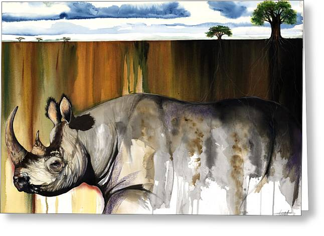 African-american Mixed Media Greeting Cards - Rhino I rooted ground Greeting Card by Anthony Burks Sr