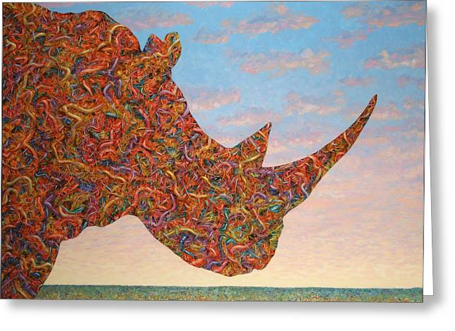 Rhinos Greeting Cards - Rhino-shape Greeting Card by James W Johnson