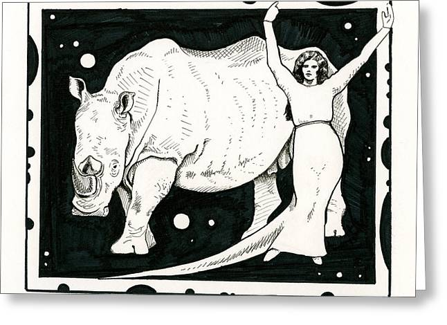Recently Sold -  - Rhinoceros Greeting Cards - Rhinocerina Greeting Card by Andrea Keating