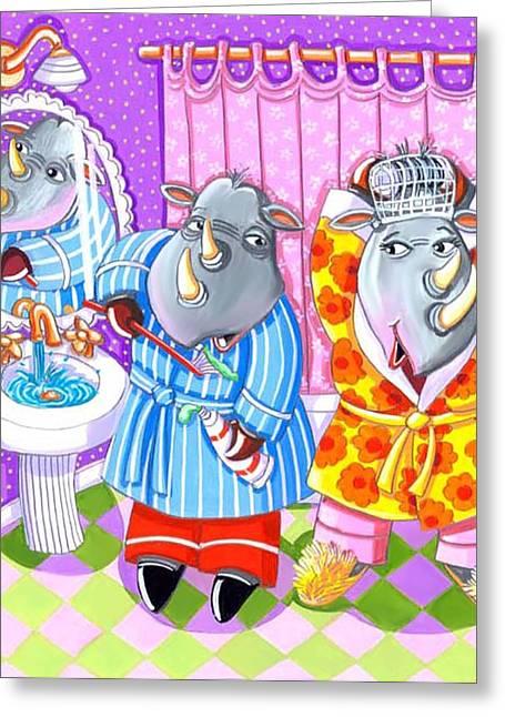 Best Sellers -  - Pajamas Greeting Cards - Rhinos Greeting Card by Ilene Richard