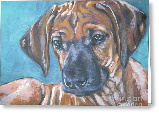 Recently Sold -  - Puppies Paintings Greeting Cards - Rhodesian Ridgeback Puppy Greeting Card by Lee Ann Shepard
