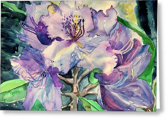 Plantations Drawings Greeting Cards - Rhododendron Greeting Card by Mindy Newman