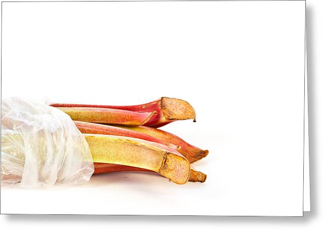 Compote Greeting Cards - Rhubarb Greeting Card by Tom Gowanlock