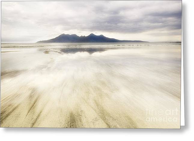 Outer Hebrides Greeting Cards - Rhum from Laig Bay Greeting Card by Janet Burdon