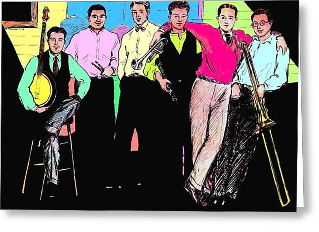 Improvisation Drawings Greeting Cards - Rhythm Jugglers Color Greeting Card by Mel Thompson
