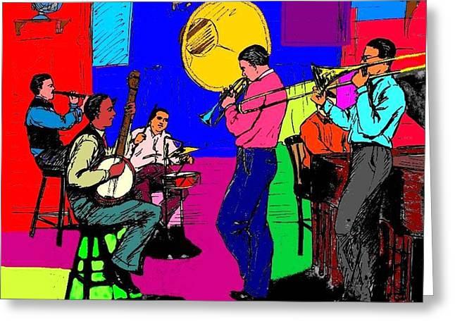 Improvisation Drawings Greeting Cards - Rhythm Jugglers Recording Greeting Card by Mel Thompson