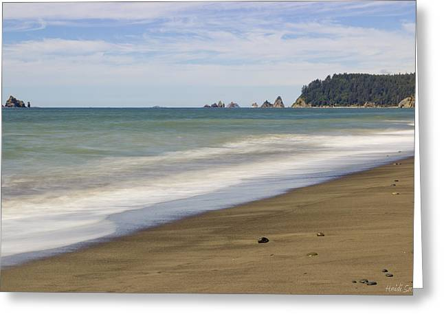 Blue Green Wave Greeting Cards - Rialto Beach Greeting Card by Heidi Smith