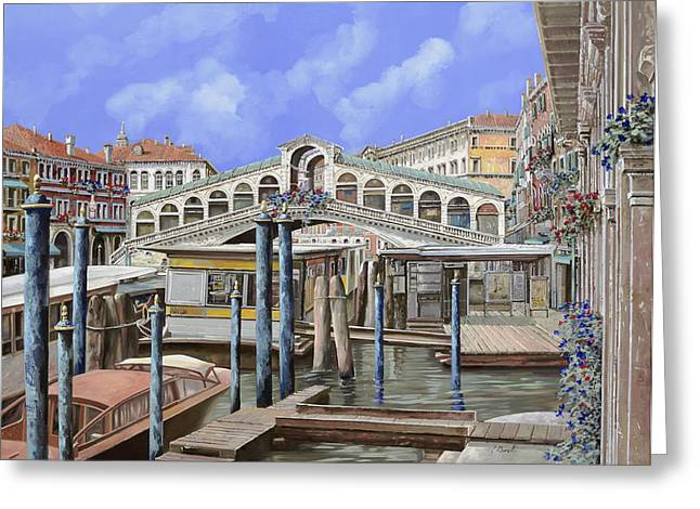 Venedig Greeting Cards - Rialto dal lato opposto Greeting Card by Guido Borelli