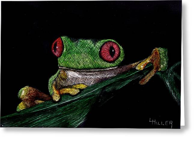 Amphibian Mixed Media Greeting Cards - Ribbit II Greeting Card by Linda Hiller