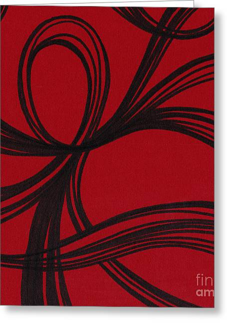 Red Abstracts Drawings Greeting Cards - Ribbon on red Greeting Card by HD Connelly