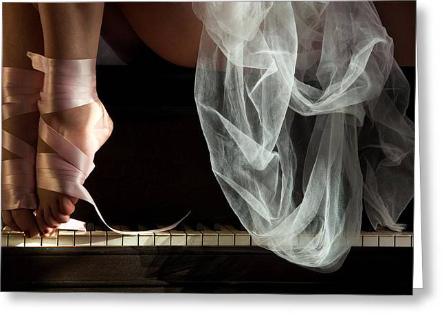 Ballet Dancers Photographs Greeting Cards - Ribbons and Lace Greeting Card by Dario Infini