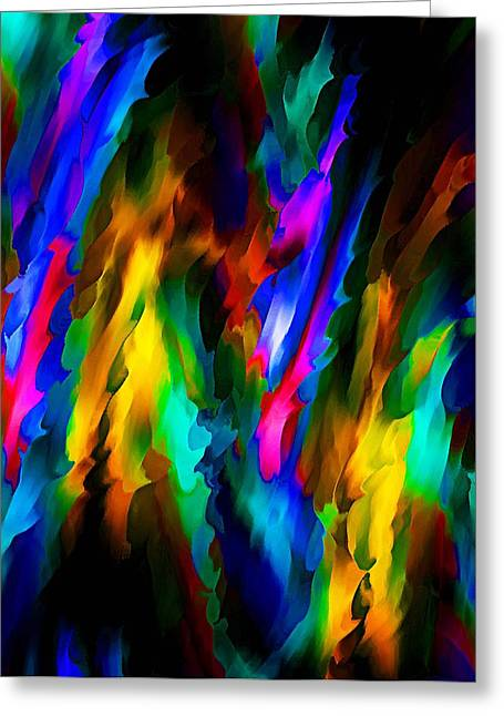 Red Green And Gold Abstracts Greeting Cards - Ribbons of Color  Greeting Card by Johnnie Boswell