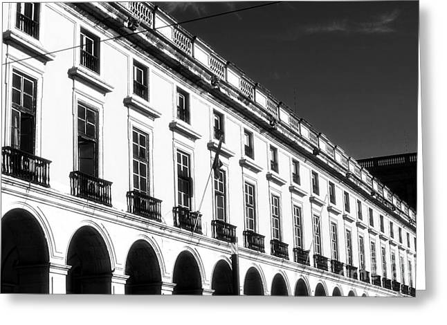 Black Commerce Greeting Cards - Ribeira Palace Greeting Card by John Rizzuto